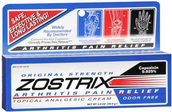 Zostrix cream for arthritis pain