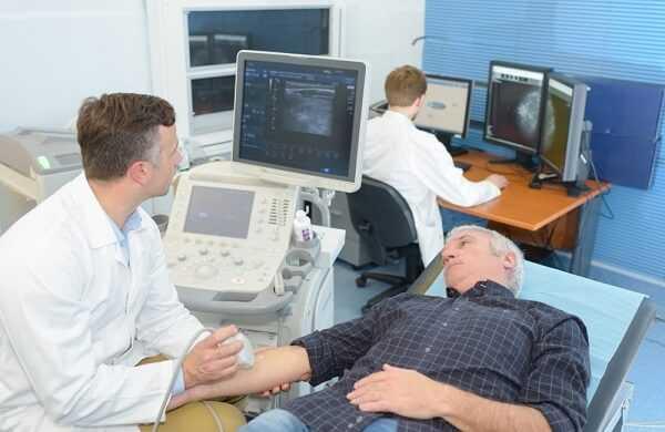 patient having arm ultrasound