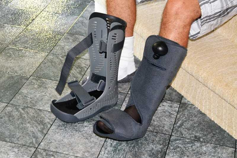 The inner lining or an orthopedic boot before putting on the outer hard boot