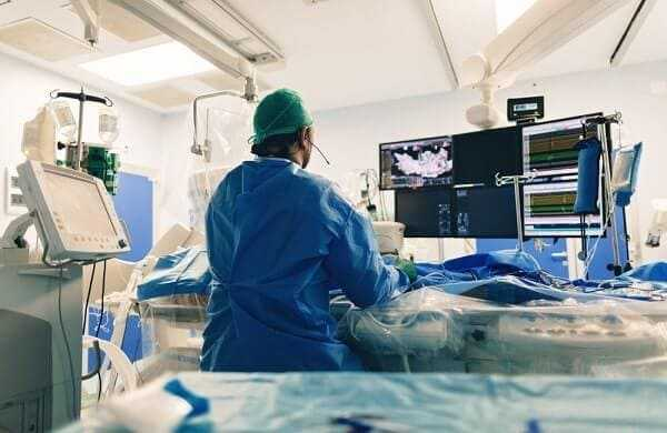 Catheter ablation used to treat abnormal heart rhythms cardiac arrhythmias using radiofrequency energy and imaging system with fluoroscopic X-ray tube for interventional electrophysiology studies
