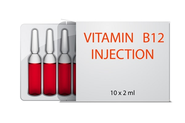 Vitamin B12 injection ampoules in package