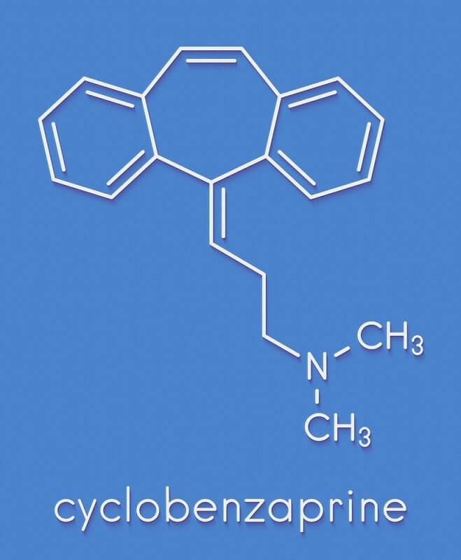 Cyclobenzaprine muscle spasm drug molecule