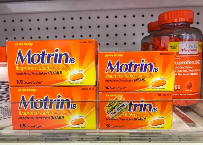 Packs of Motrin and Ibuprofen