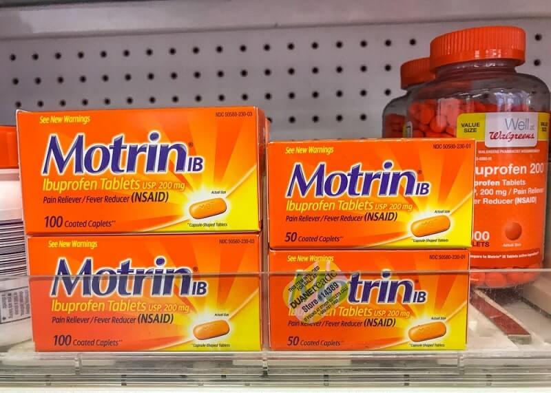 Packs of Motrin and Ibuprofen
